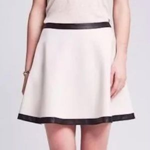 Banana Republic White Flared Skirt w/Black Trim